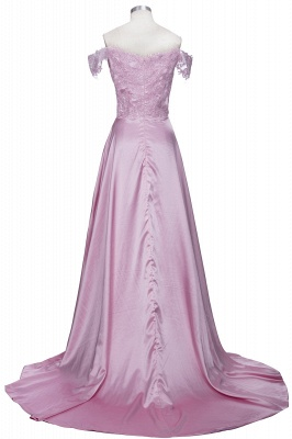 Elegant Dark Green Evening Gowns Off-the-Shoulder Side Split Prom Dresses_3