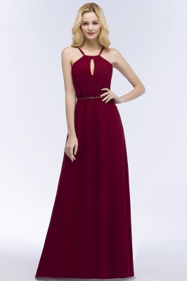 A-line Keyhole Neckline Spaghetti Bridesmaid Dress with Beading Sash In Stock_5