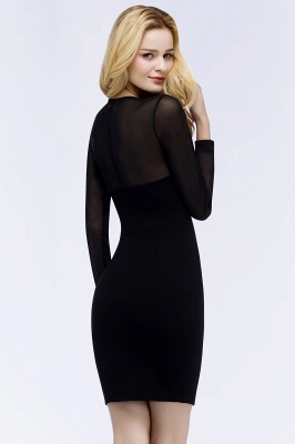 Jewel Long Sleeves Sheer Sexy Bodycon Black Short Party Dresses_3