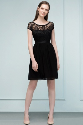Cheap A-line Short Scoop Lace Top Chiffon Bridesmaid Dress in Stock_8