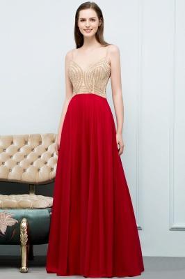 A-line Spaghetti Floor Length Beading Burgundy Prom Dresses_1