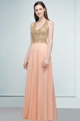 RENA | A-line Floor Length Spaghetti V-neck Appliqued Chiffon Bridesmaid Dresses_4