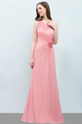 Mermaid Floor Length One-shoulder Ruffled Chiffon Bridesmaid Dresses with Flower_5