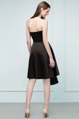 REA | A-line Strapless Short Ruffles Black Homecoming Dresses_3