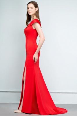 Mermaid Off-shoulder Floor Length Split Red Prom Dresses_8