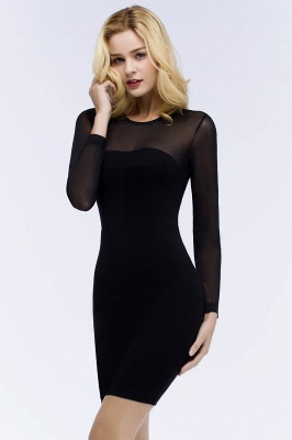 Jewel Long Sleeves Sheer Sexy Bodycon Black Short Party Dresses_6