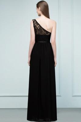 SYBIL | A-line One-shoulder Long  Lace Chiffon Bridesmaid Dresses with Sash_3