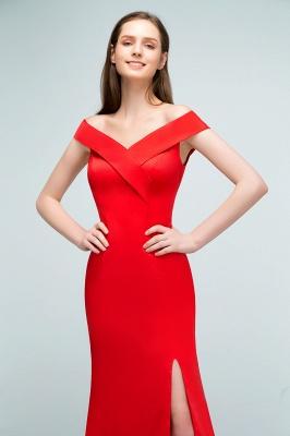 Mermaid Off-shoulder Floor Length Split Red Prom Dresses_9