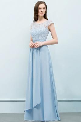 A-line Long Cap Sleeves Lace Top Chiffon Bridesmaid Dress_7