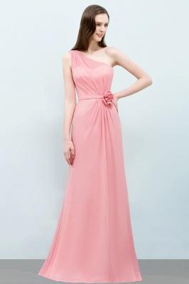 Mermaid Floor Length One-shoulder Ruffled Chiffon Bridesmaid Dresses with Flower_4