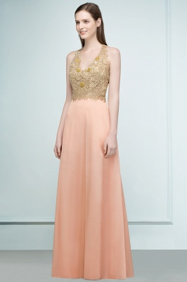 RENA | A-line Floor Length Spaghetti V-neck Appliqued Chiffon Bridesmaid Dresses_6
