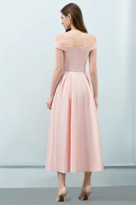 Cheap A-line Off-shoulder Tea Length Pink Prom Dress with Sash in Stock_3