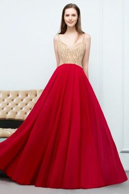 A-line Spaghetti Floor Length Beading Burgundy Prom Dresses_6