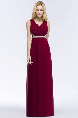 A-line Long Sleeveless V-neck Ruffled Chiffon Bridesmaid Dresses with Beading Sash_1