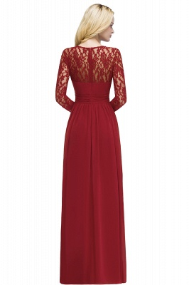 ROSALIE | A-line Floor Length Long Sleeves Lace Chiffon Bridesmaid Dresses_3