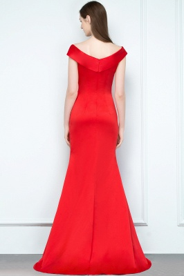 Mermaid Off-shoulder Floor Length Split Red Prom Dresses_3