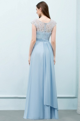 Cheap A-line Long Cap Sleeves Lace Top Chiffon Bridesmaid Dress in Stock_3