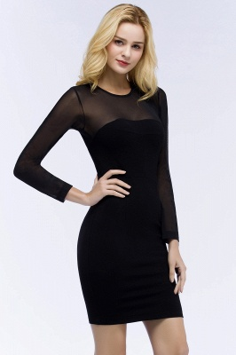 Jewel Long Sleeves Sheer Sexy Bodycon Black Short Party Dresses_7