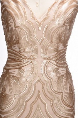 V-neck Sequins Gold Sexy Deep Sleeveless Mermaid Champagne Evening Gown_7