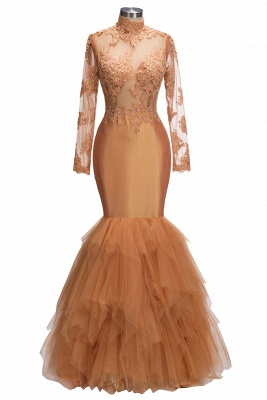 Sexy Dark Orange Prom Dresses   Sheer Appliques Long Sleeves Evening Gowns_1