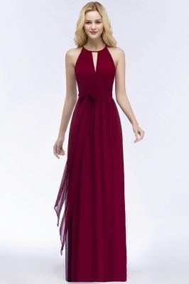 A-line Halter Floor Length Burgundy Bridesmaid Dress with Bow Sash_14