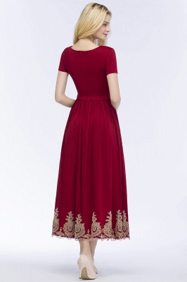 A-line Short Sleeves Ankle Length Appliques Prom Dresses with Sash_3
