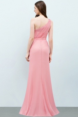 Mermaid  One-shoulder Sleeveless Ruffled Floor-Length Bridesmaid Dresses with Flower_2