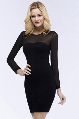 Jewel Long Sleeves Sheer Sexy Bodycon Black Short Party Dresses_9