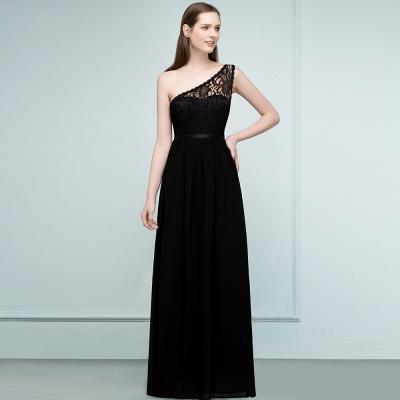 SYBIL | A-line One-shoulder Long  Lace Chiffon Bridesmaid Dresses with Sash_8