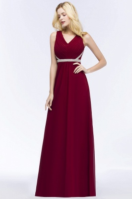 A-line Long Sleeveless V-neck Ruffled Chiffon Bridesmaid Dresses with Beading Sash_4
