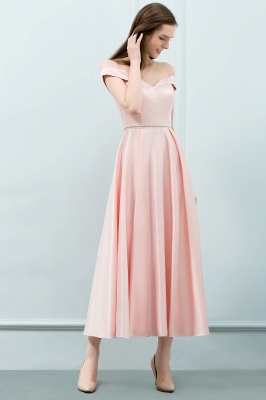 Cheap A-line Off-shoulder Tea Length Pink Prom Dress with Sash in Stock_5