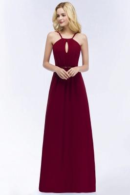 A-line Keyhole Neckline Spaghetti Bridesmaid Dress with Beading Sash In Stock_2