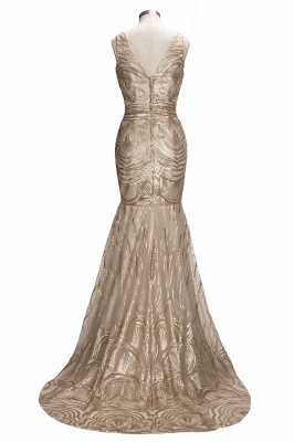 V-neck Sequins Gold Sexy Deep Sleeveless Mermaid Champagne Evening Gown_6