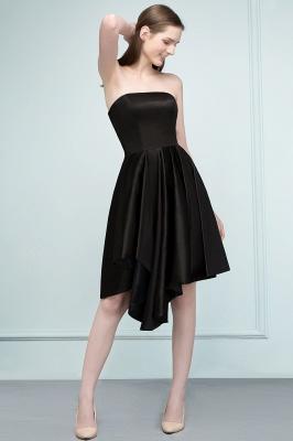 REA | A-line Strapless Short Ruffles Black Homecoming Dresses_8