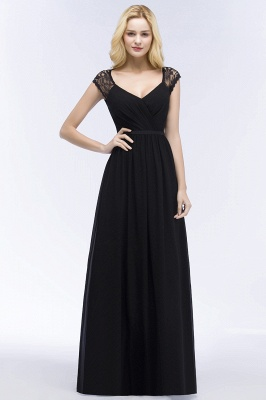 ROSALIA | A-line V-neck Floor Length Lace Chiffon Bridesmaid Dresses with Sash_7