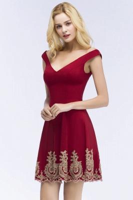 ROSE   A-line V-neck Short Off-shoulder Appliques Burgundy Homecoming Dresses_5
