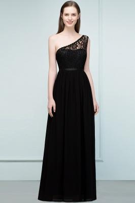 SYBIL | A-line One-shoulder Long  Lace Chiffon Bridesmaid Dresses with Sash_5