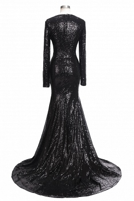 Mermaid Black Sequins Long-Sleeves Shiny V-Neck Prom Dresses_3