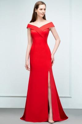 Mermaid Off-shoulder Floor Length Split Red Prom Dresses_5