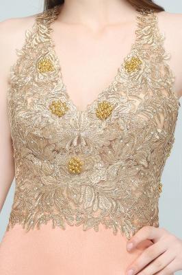 RENA | A-line Floor Length Spaghetti V-neck Appliqued Chiffon Bridesmaid Dresses_9