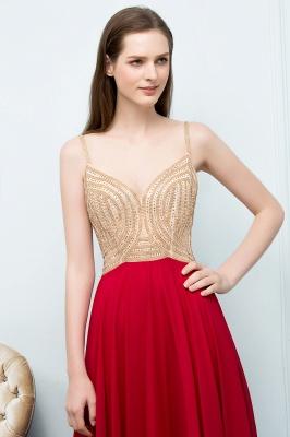 A-line Spaghetti Floor Length Beading Burgundy Prom Dresses_8