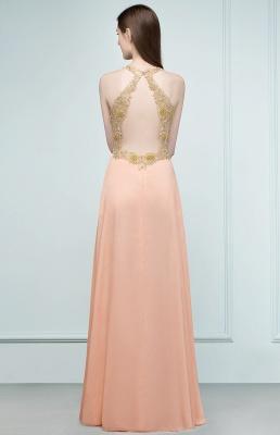 RENA | A-line Floor Length Spaghetti V-neck Appliqued Chiffon Bridesmaid Dresses_3