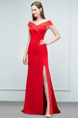 Mermaid Off-shoulder Floor Length Split Red Prom Dresses_7