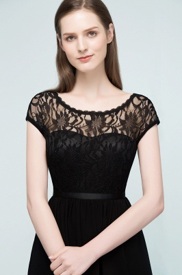Cheap A-line Short Scoop Lace Top Chiffon Bridesmaid Dress in Stock_5