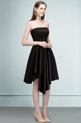 REA | A-line Strapless Short Ruffles Black Homecoming Dresses_4