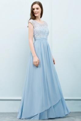 A-line Long Cap Sleeves Lace Top Chiffon Bridesmaid Dress_10