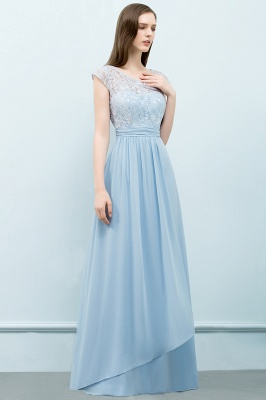Cheap A-line Long Cap Sleeves Lace Top Chiffon Bridesmaid Dress in Stock_6