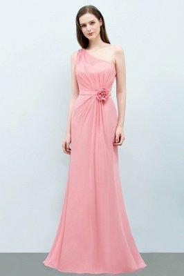 Mermaid Floor Length One-shoulder Ruffled Chiffon Bridesmaid Dresses with Flower_2