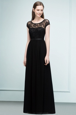 REESE | A-line Floor Length Short Sleeves Lace Bridesmaid Dresses with Sash_2