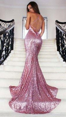 Spaghettis-Straps Rose Pink Sequins Prom Dresses   Sparkly Long Mermaid Formal Dress_3
